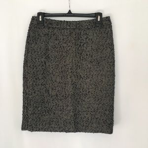 J Crew the Pencil Skirt Grey/Black Metallic Detail